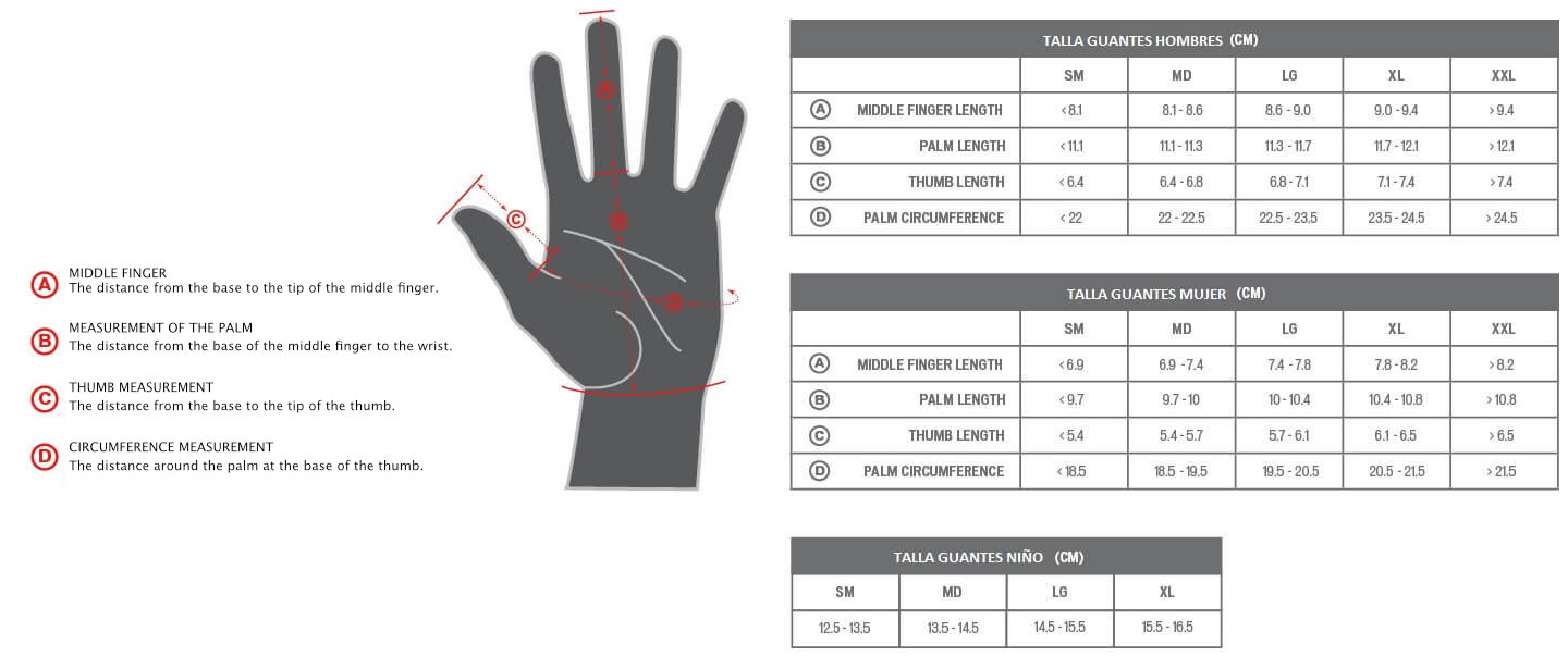 Specialized glove sizes